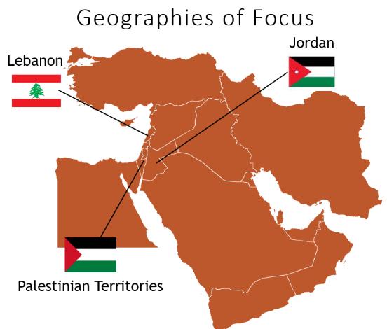 إنفوجرافيك يوضح مناطق جغرافية لخريطة التركيز في الشرق الأوسط
